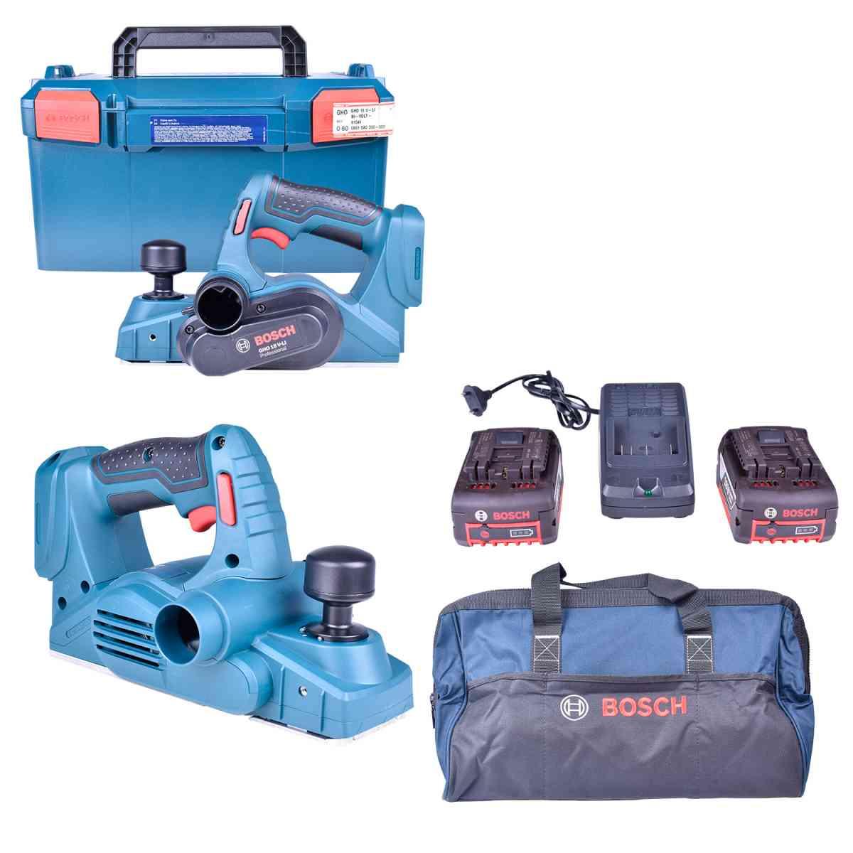2 Plainas A Bateria Gho18V-Li + Carregador com 2 Baterias 18V + Bolsa Para Ferramentas Bosch