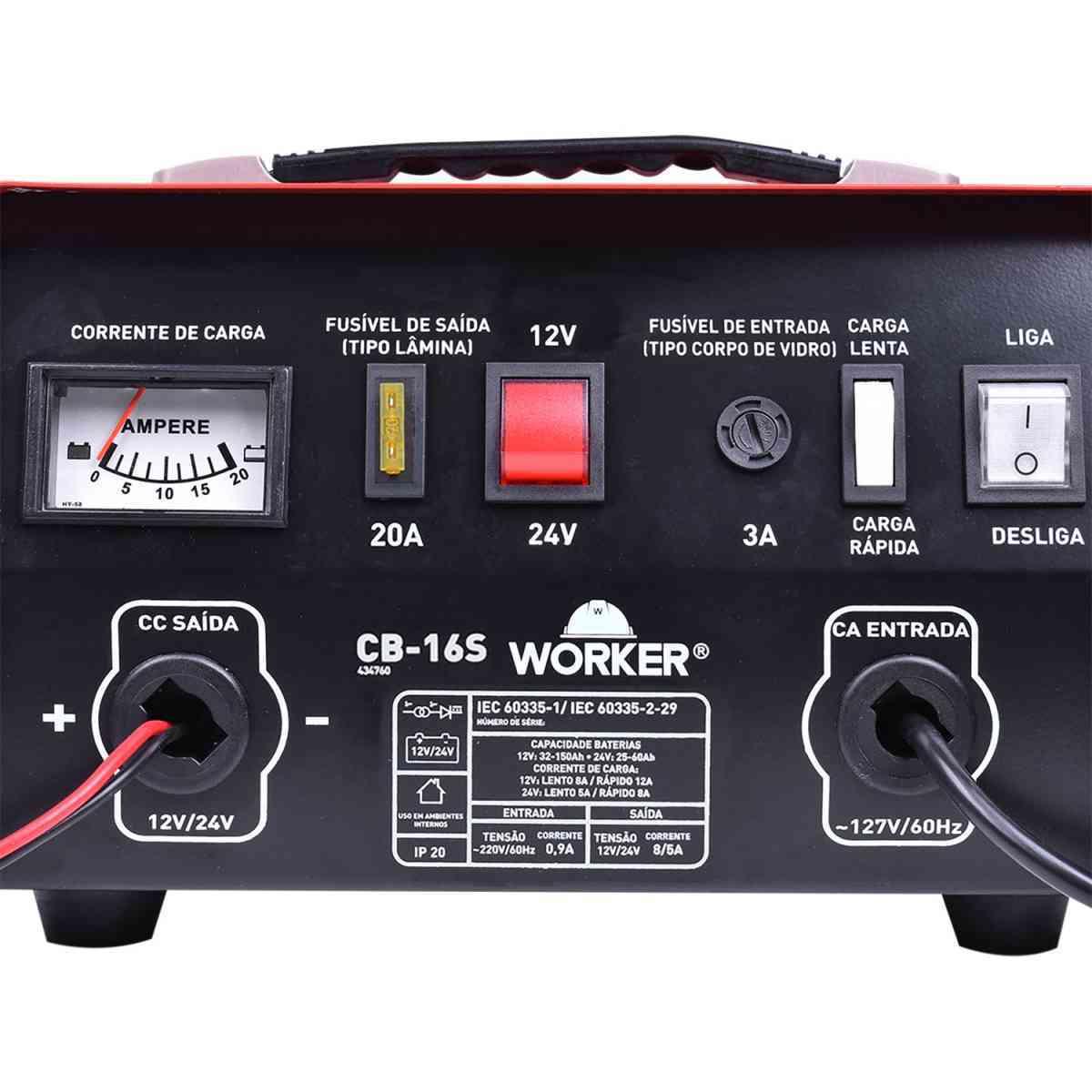 Carregador Bateria CB16S Portátil  Worker - 127V