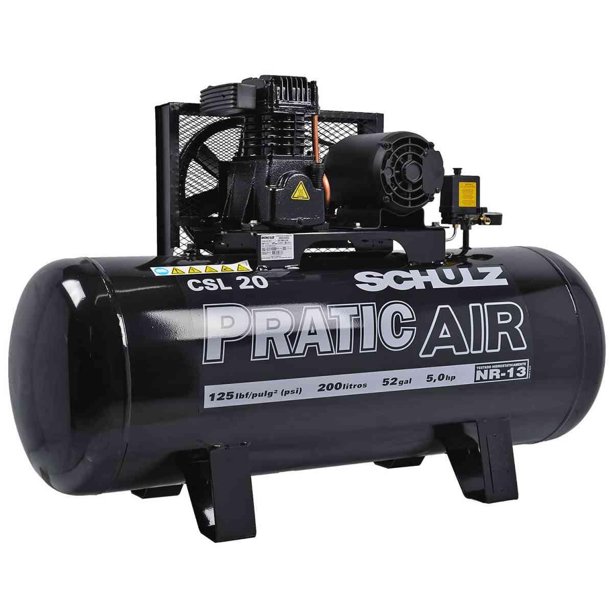 Compressor Ar 20 Pés 200L Pratic Air CSL Schulz 220/380V Trifásico