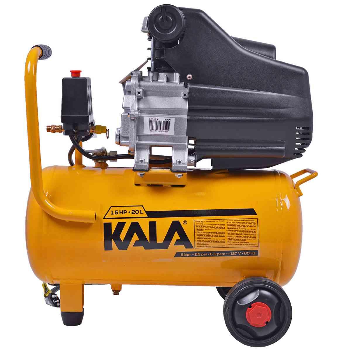 Compressor De Ar 1.5hp Pistão 6,6 PCM Kala