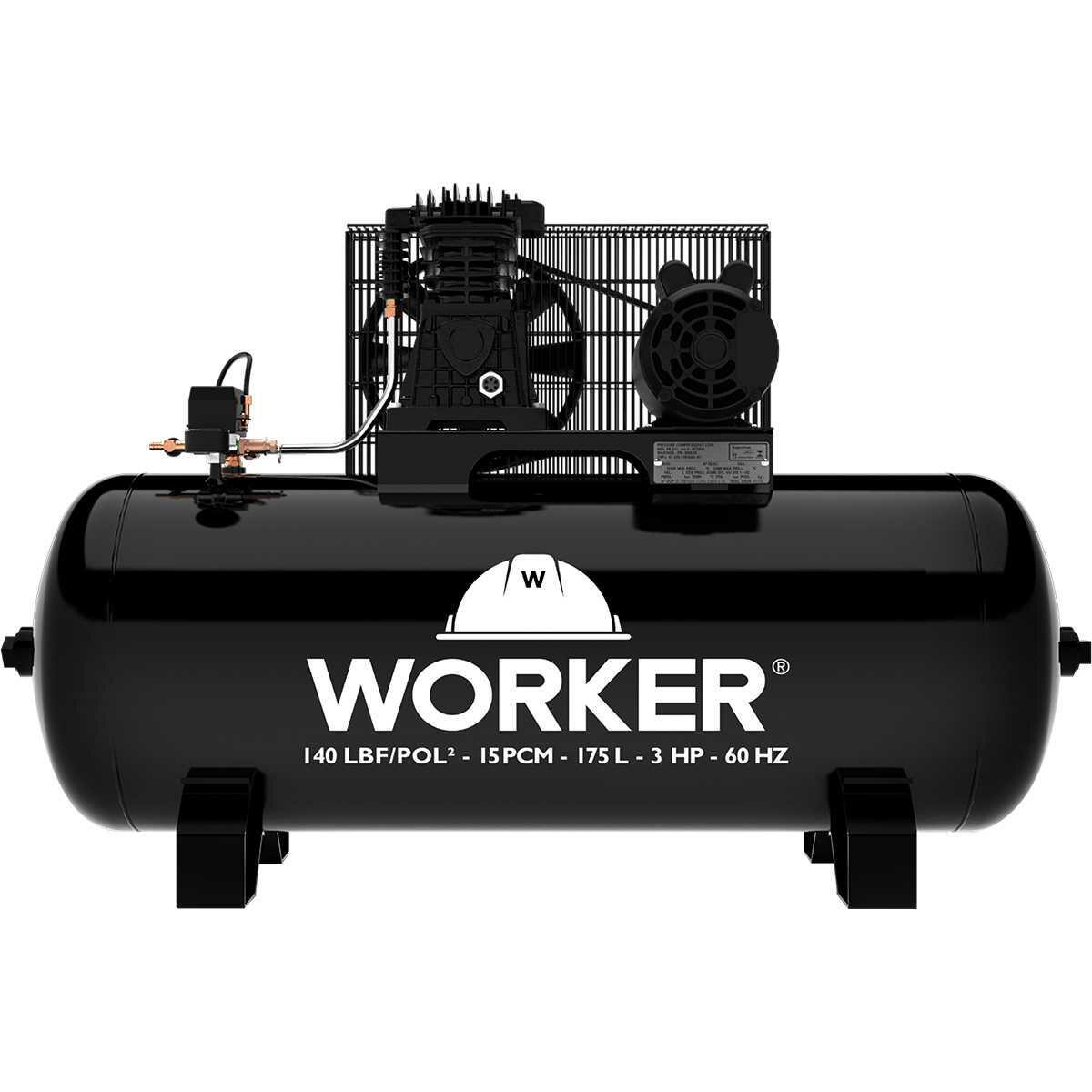 Compressor de Ar Profissional 15Pcm - 3Hp Monofásico 127/220V Worker
