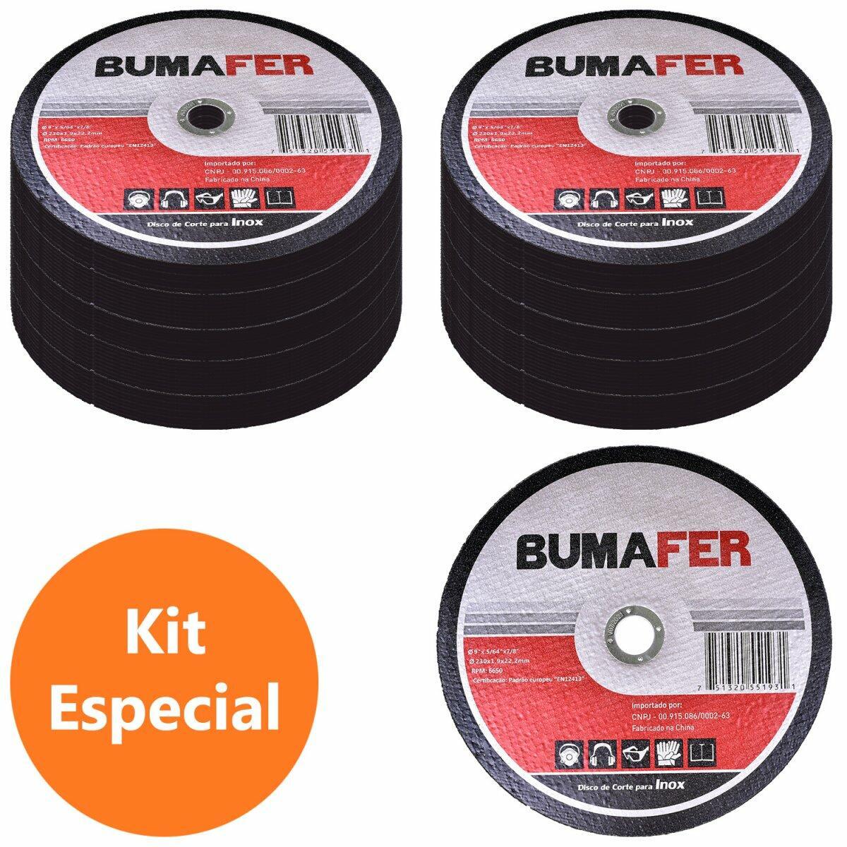 """Discos de Corte Inox com 100 Peças 9"""" × 1,9 mm Bumafer"""