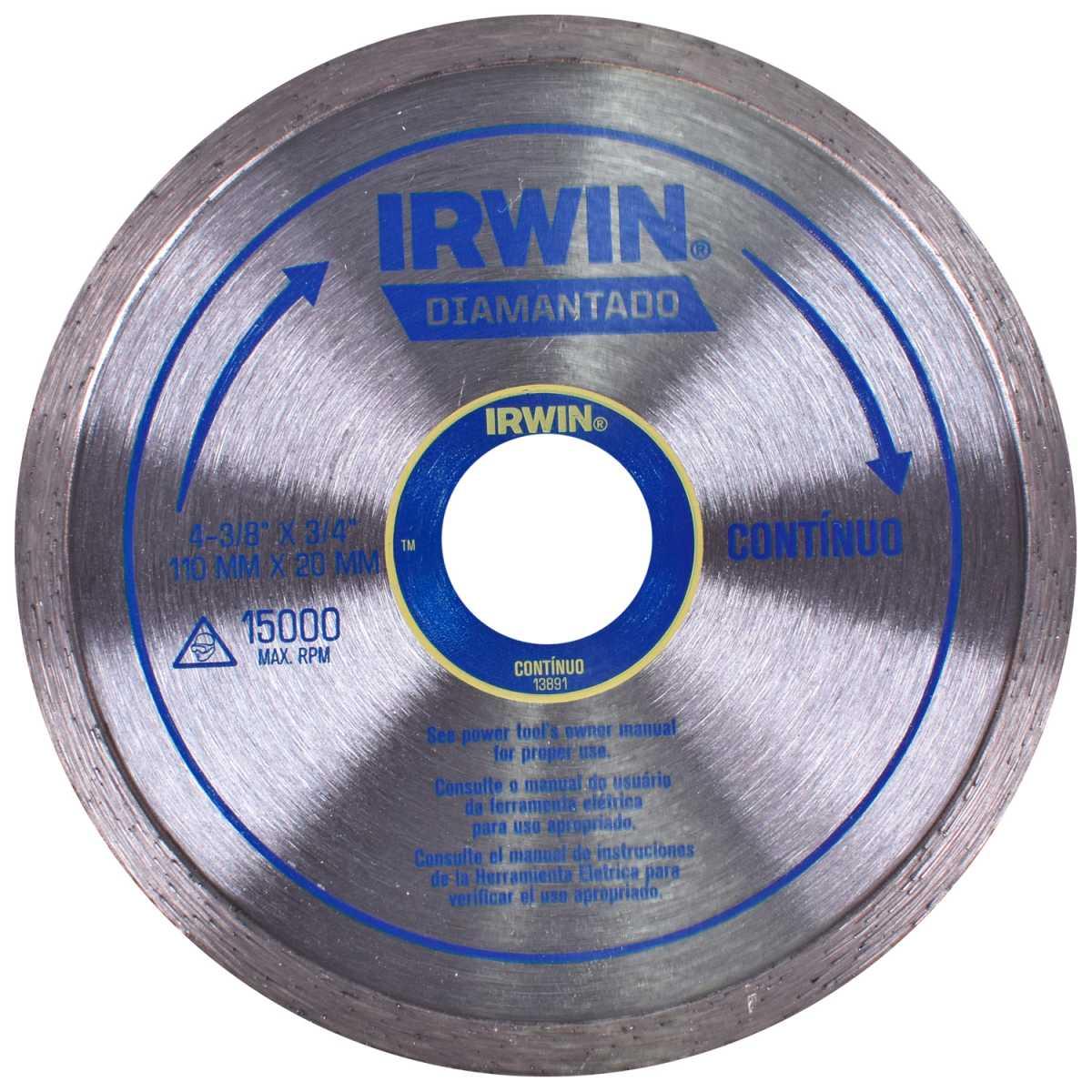 Disco Diamantado 110Mm Liso (Contínuo) Irwin - Corte a Seco