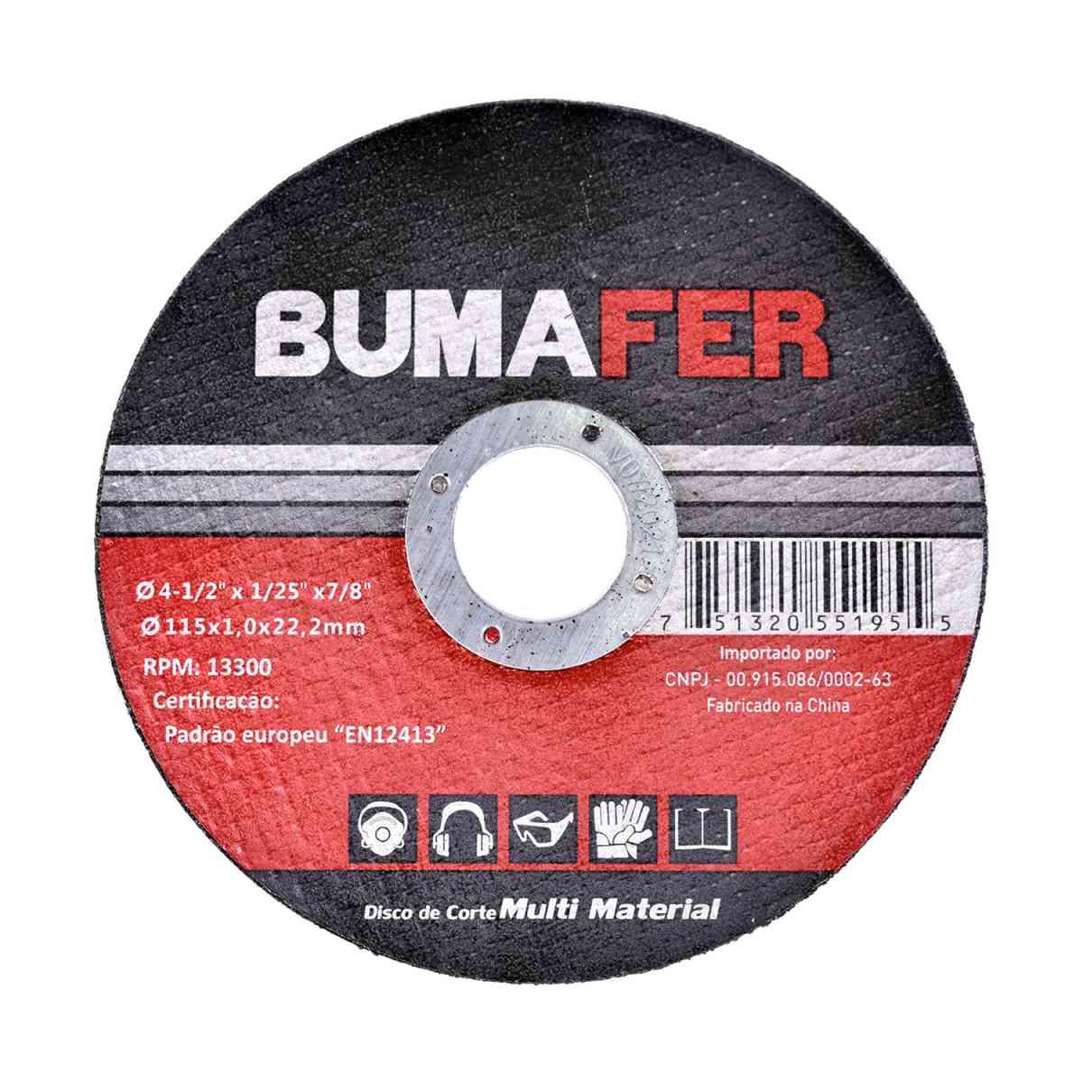 """Discos de Corte Multi Material com  200 Peças 4. 1/2"""" × 1 mm Bumafer"""