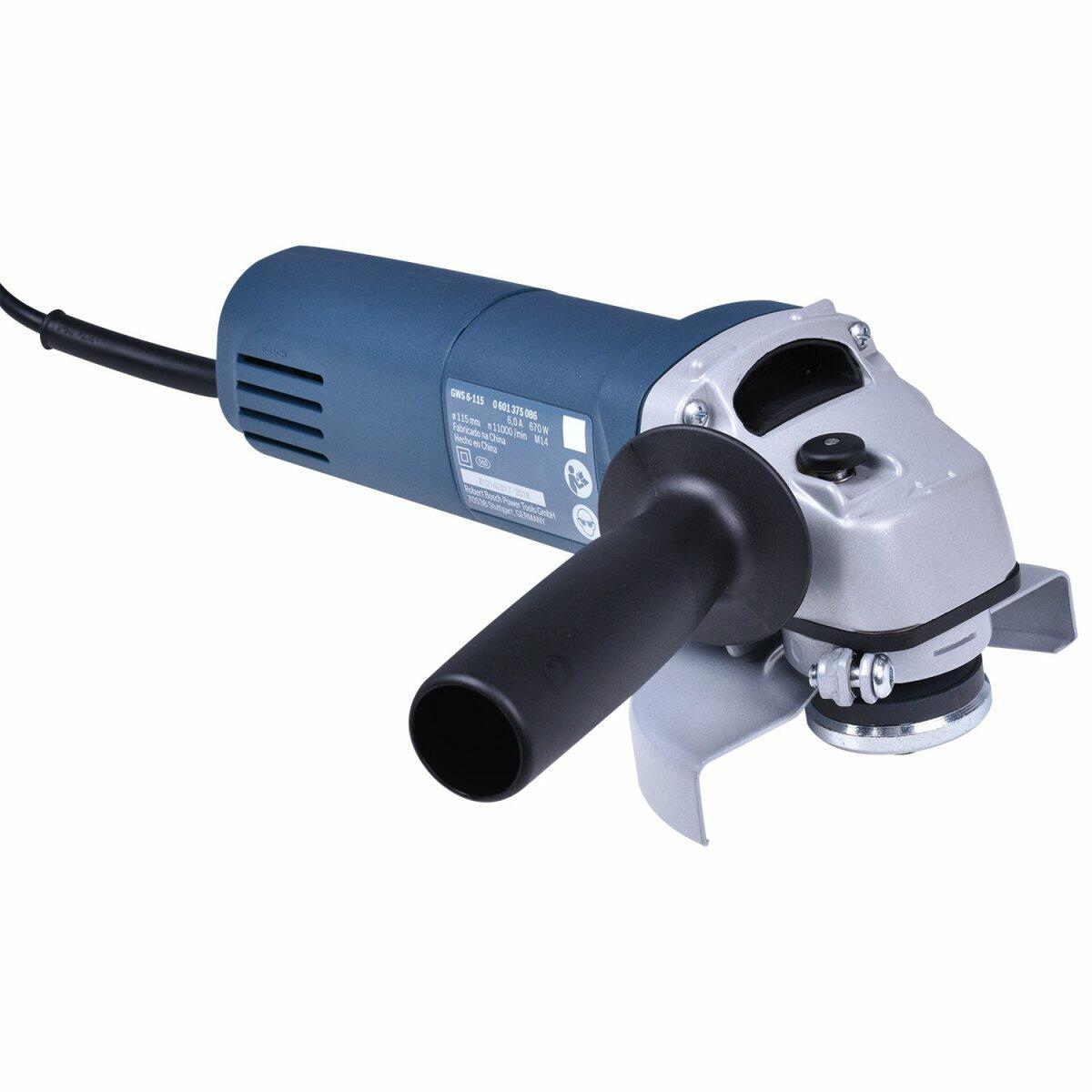 """Esmerilhadeira Angular 4.1/2"""" 670W GWS6-115 Bosch - 127V"""