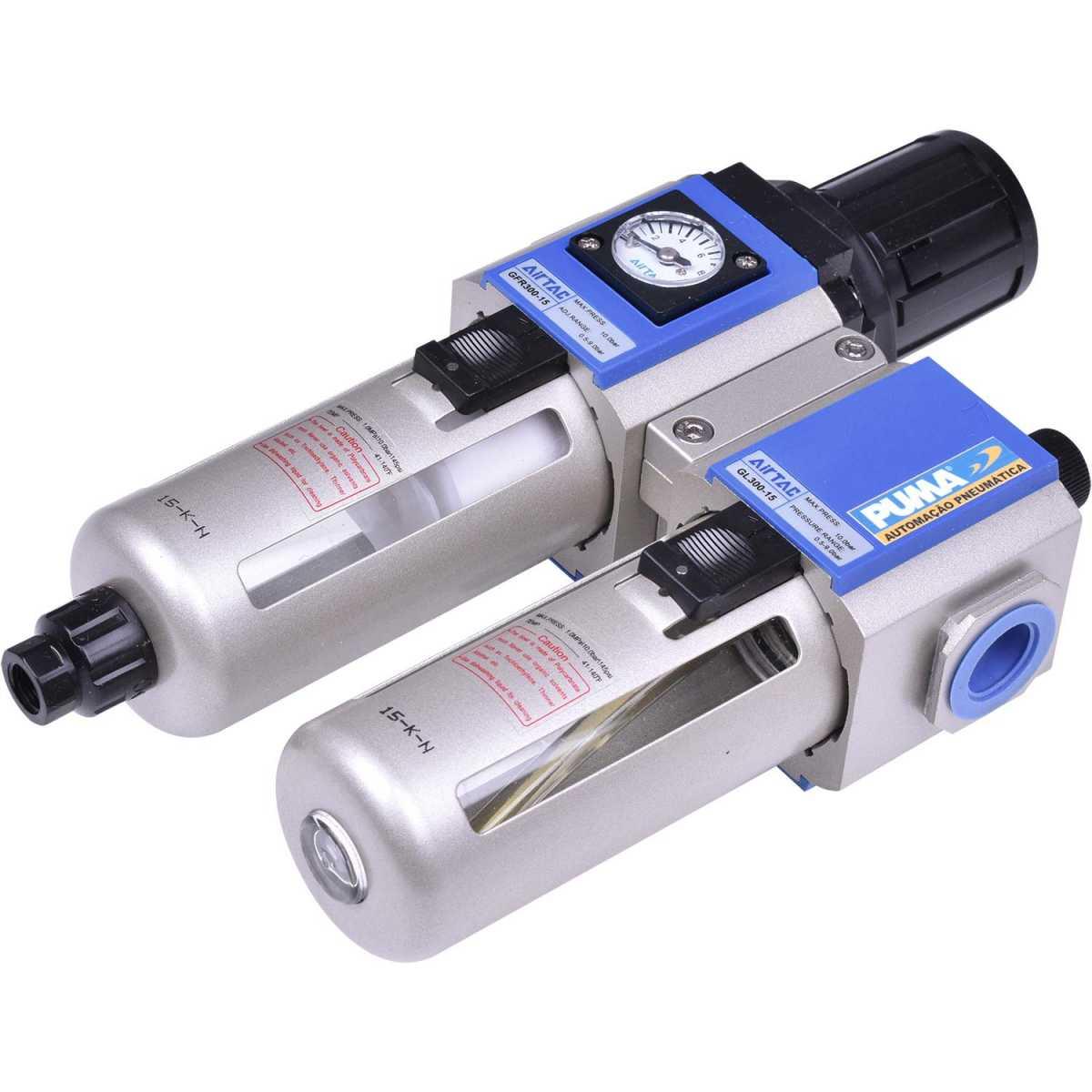 """Filtro Regulador Lubrificador Ar e Óleo 1/2"""" Tfrl12 Puma 5 Micra"""