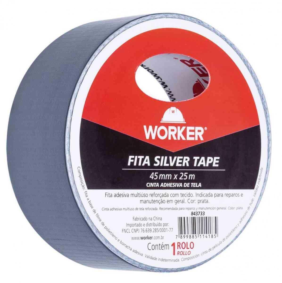 Fita Adesiva Silver Tape Multiuso 45Mm X 25M Worker