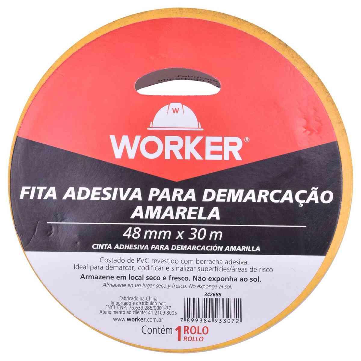 Fita Adesiva para Demarcação Amarela 48Mm X 30M Worker