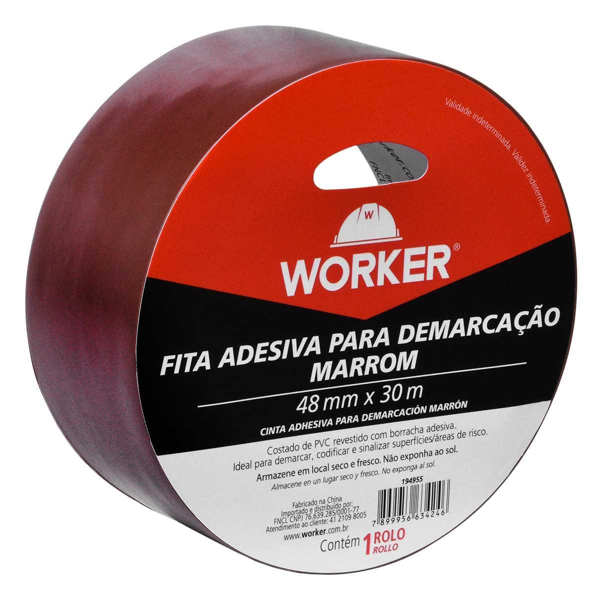 Fita Adesiva para Demarcação Marrom 48Mm X 30M Worker