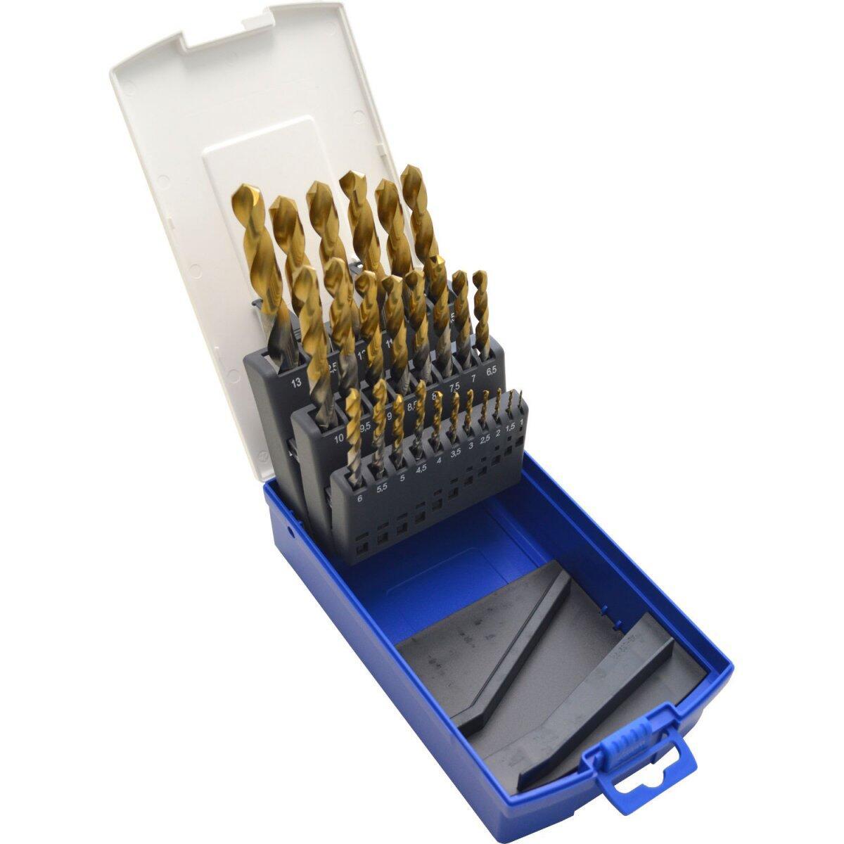 Jogo De Brocas Em Aço Rápido 1 a 13mm 25 Peças Revestida em Titânio TW1000 Lenox Twill