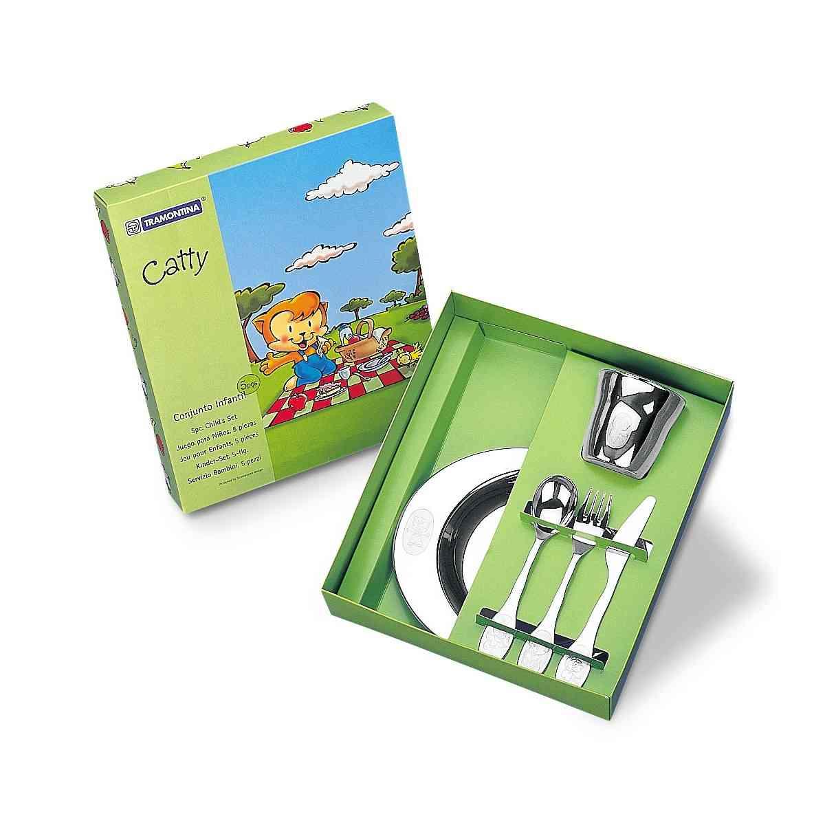 Kit Infantil Tramontina para Refeição em Aço Inox  5 Peças 64250940