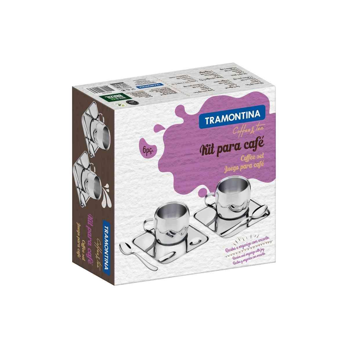 Kit para Café Tramontina em Aço Inox Acabamento Brilho com Xícara Píres Quadrado e Colher 6 Peças Tramontina 64430800