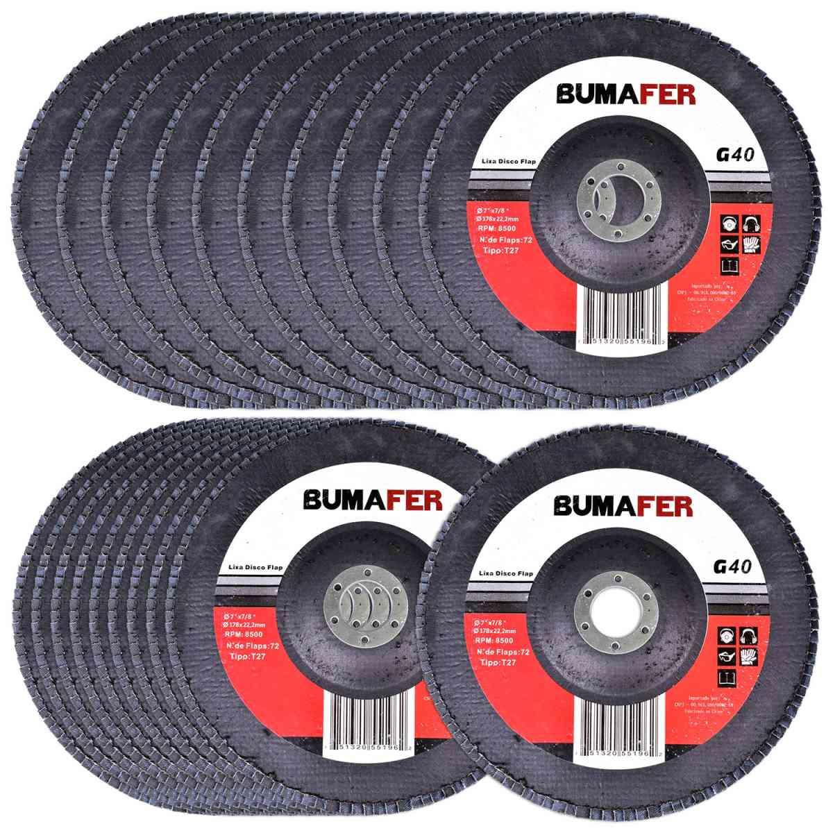 Lixas Disco Flap com 20 Peças 180 × 22 mm G40 Bumafer