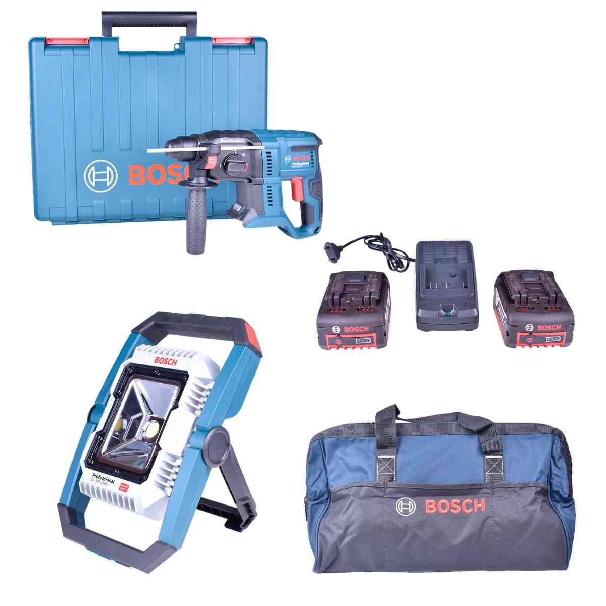 Martelete Perfurador Sds Gbh180-Li + Lanterna Gho18V-Li+ Carregador com 2 Baterias 18V + Bolsa Ferramentas Bosch