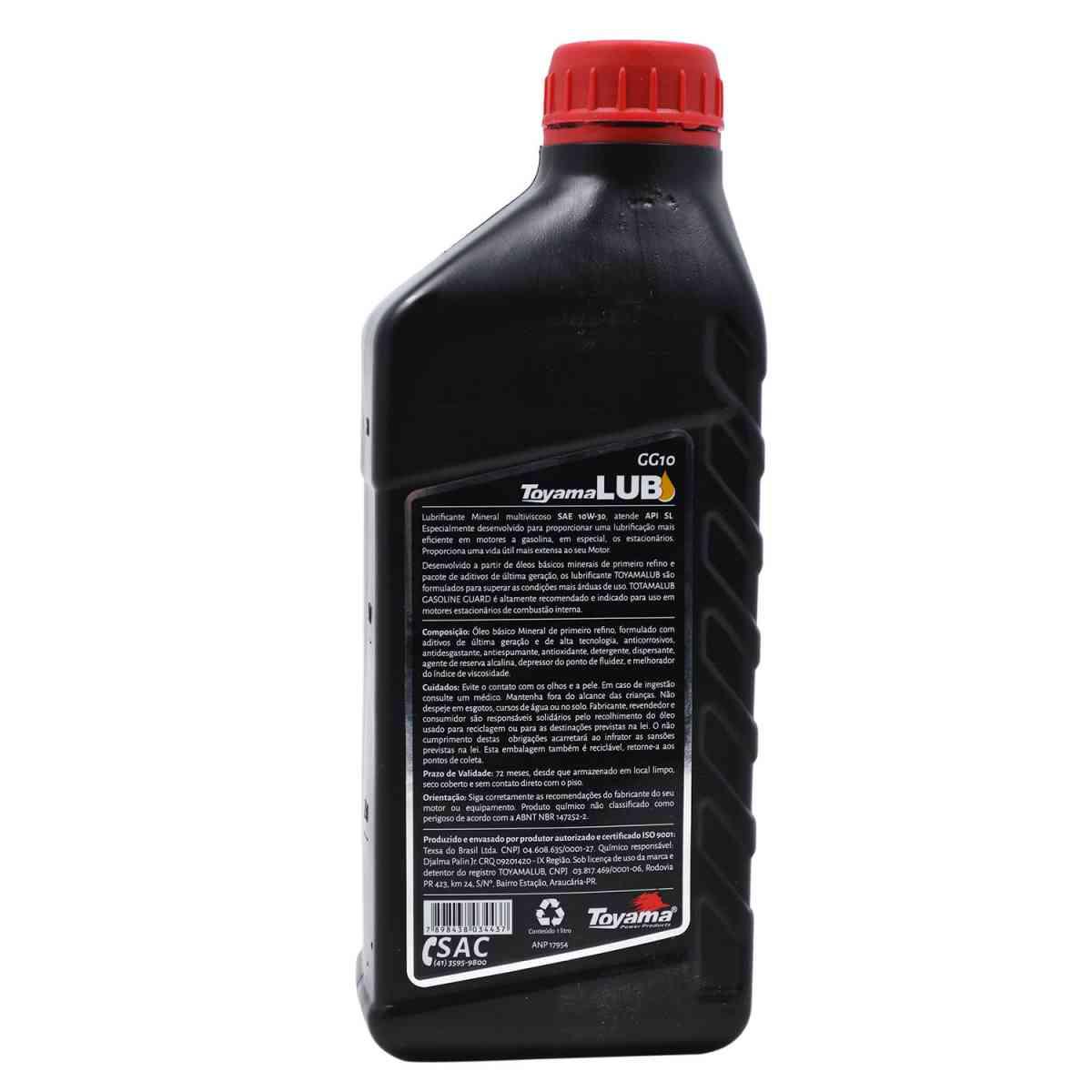 Óleo para Motor 4 Tempos a Gasolina 1LT 10W30 SL GG10 Toyama