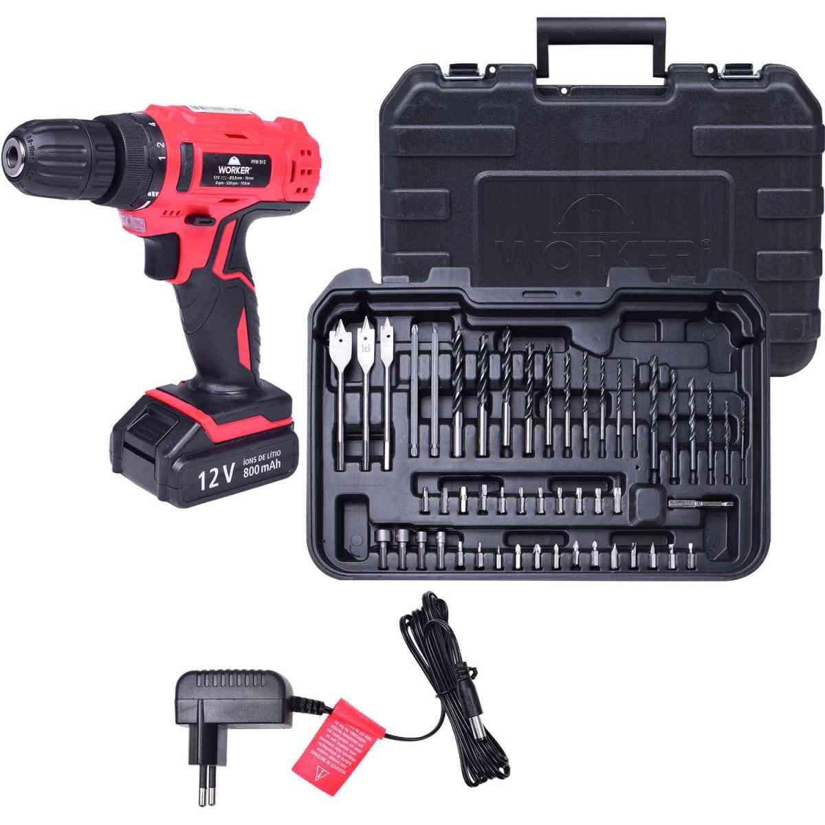 Parafusadeira 12V Bateria Biv Kit com 50 Peças Worker