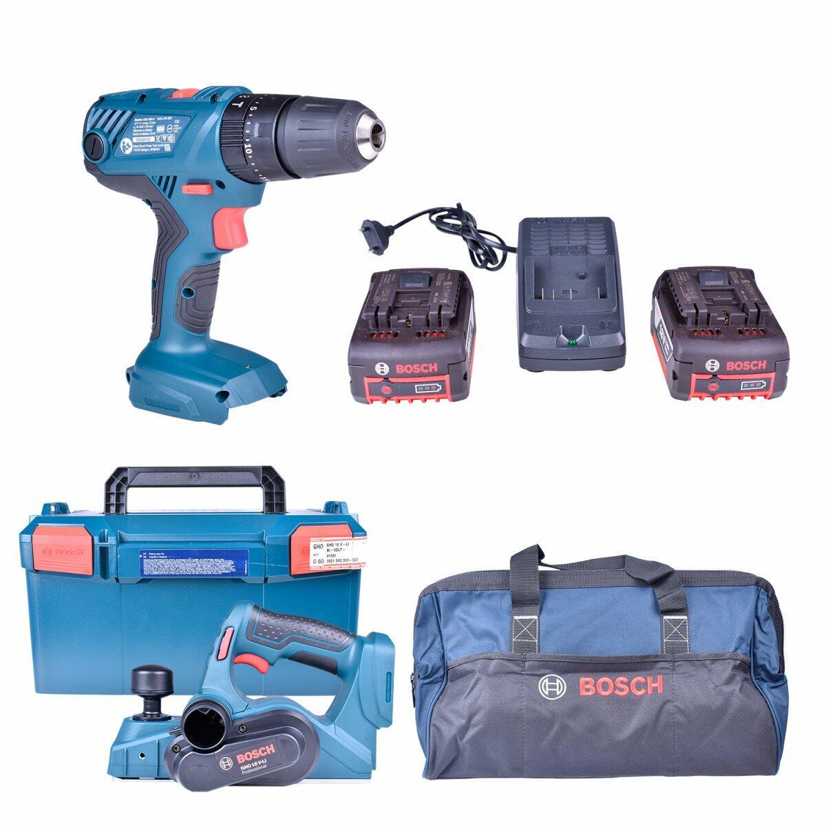 Parafusadeira / Furadeira de Impacto Gsb180-Li + Plaina A Bateria Gho18V-Li + Carregador com 2 Baterias 18V + Bolsa Ferramentas Bosch