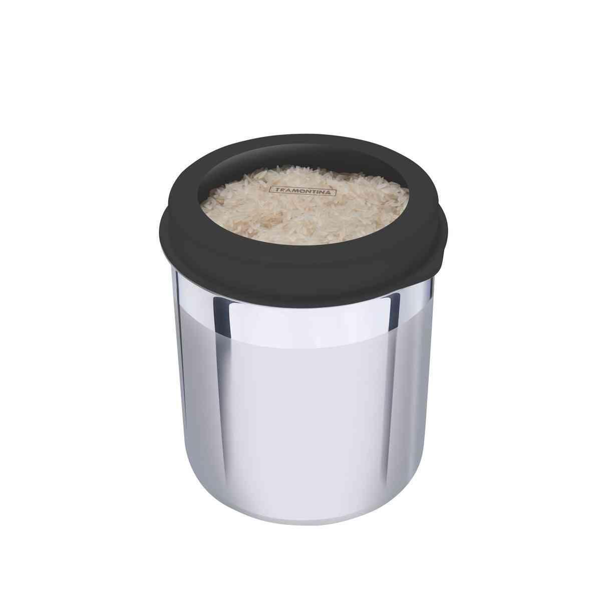 Pote Tramontina em Aço Inox com Tampa Plástica Preta e Visor 18,5 cm 5,2 L Tramontina 61227183