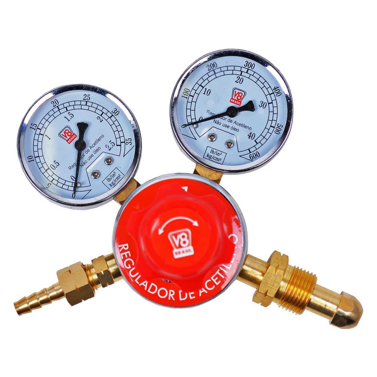 Regulador de Pressão Gás Acetileno 110183 V8 Brasil