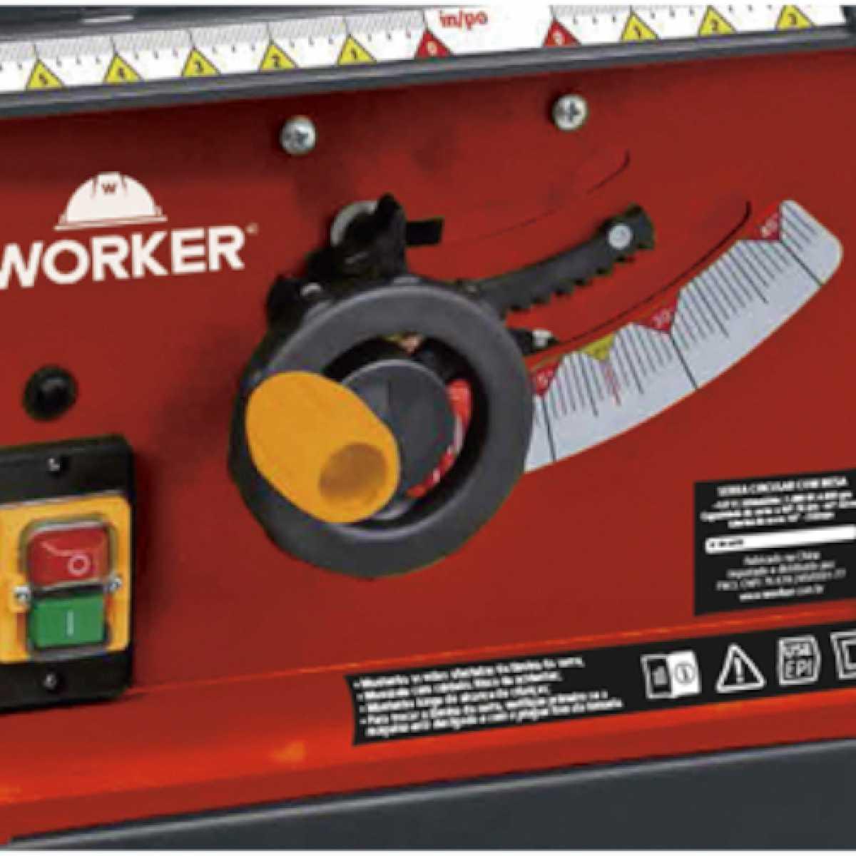 """Serra Circular com Mesa 10"""" - 250 MM 1800W Worker - 127V"""