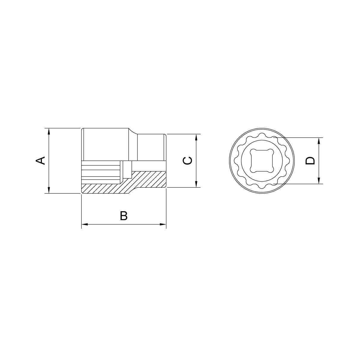 """Soquete Estriado em Aço Cromo Vanádio 17 mm - Encaixe 1/2"""" Tramontina 44833117"""