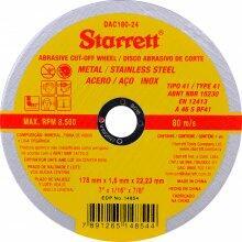 """DISCO DE CORTE 7"""" 1,6MM FURO 22,22MM STARRETT"""