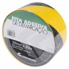 Fita Adesiva De Demarcação Carbografite - 30m x 50mm, Preta e Amarela (Zebrada)