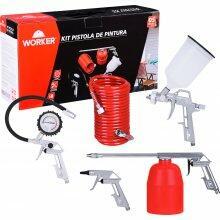 Kit Pistola de Pintura 5 Peças Plástico Worker