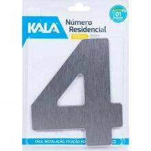 Número Residencial N°4 Aço Escovado 12,5cm Kala