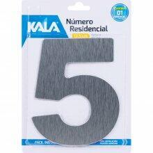 Número Residencial N°5 Aço Escovado 12,5cm Kala