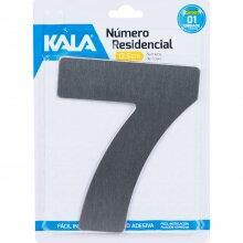 Número Residencial N°7 Aço Escovado 12,5cm Kala