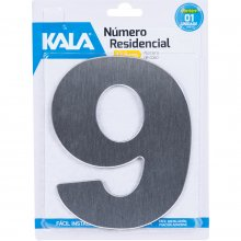 Número Residencial N°9 Aço Escovado 12,5cm Kala