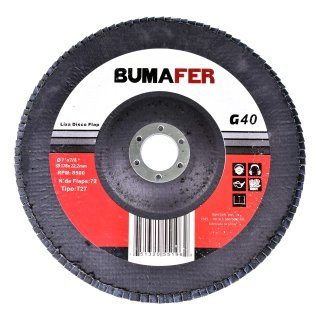 Lixas Disco Flap com 50 Peças 180 × 22 mm G40 Bumafer