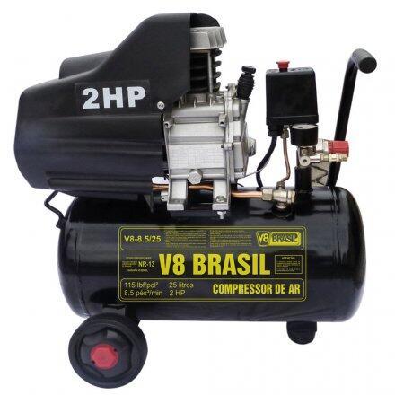 Compressor 8,5 Pcm 25 Litros 2Cv 127V V8Brasil