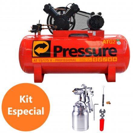 Compressor de Ar 15 Pés 175L Pressure Atg2 15/175V com Pistola Pintura Psa02 220/380V Trif