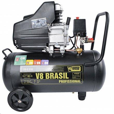 Compressor de Ar 8,5 Pés 50 Litros 2Cv V8 Brasil - 220V