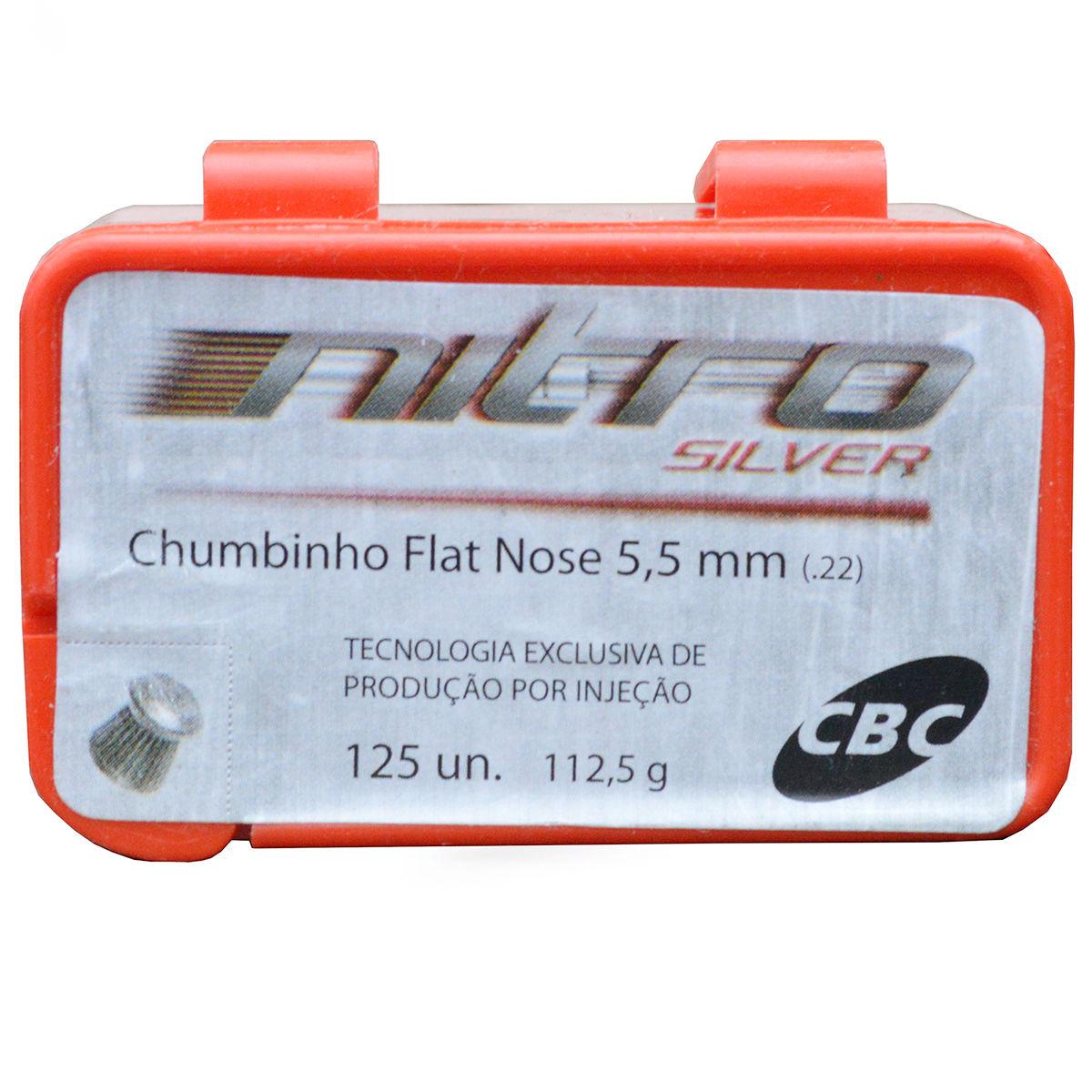 Chumbinho 5,5mm Nitro CBC Silver Flat Nose - 125 Peças