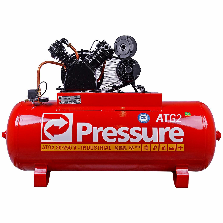 Compressor de Ar 250 L 20 Pcm Atg2 Com Pistola Pintura Psa02 220/380 Trif