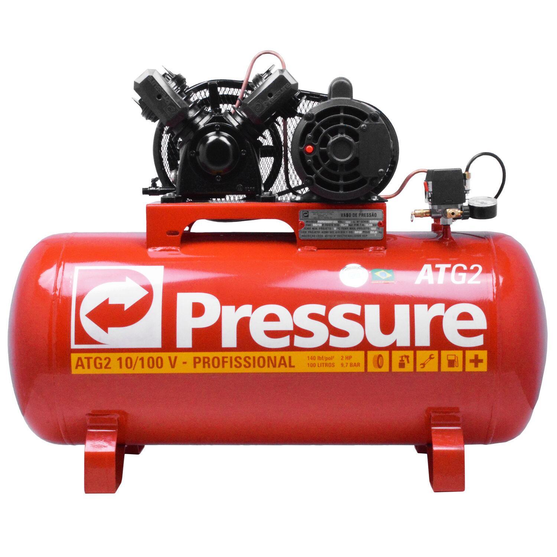 Compressor de Ar 100 L 10 PCM ATG2 e Pistola Pintura PSM03 220/380 Trif
