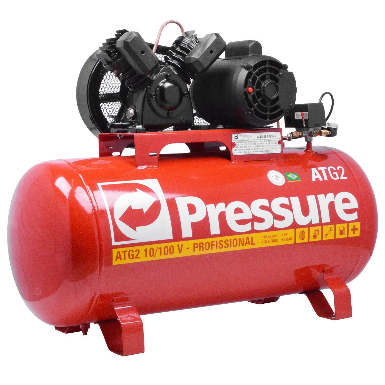Compressor de Ar 100 L 10 PCM ATG2 Pressure - Tri 220/380V
