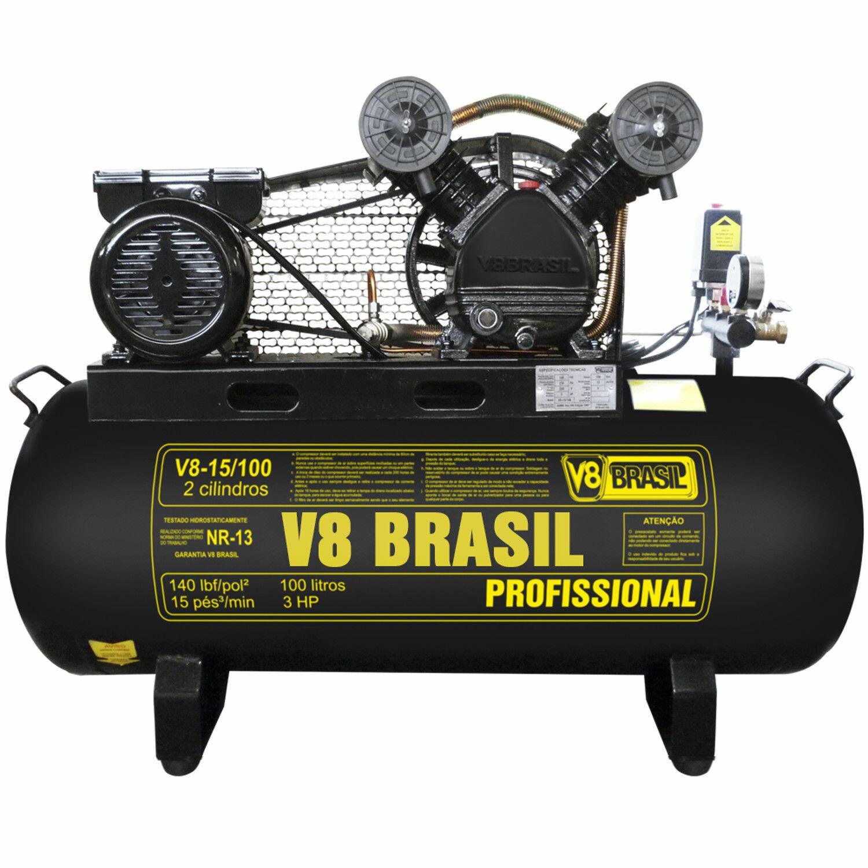 Compressor De Ar 15 Pés 100 Litros V8 Brasil 15/100 - 220V Monofásica