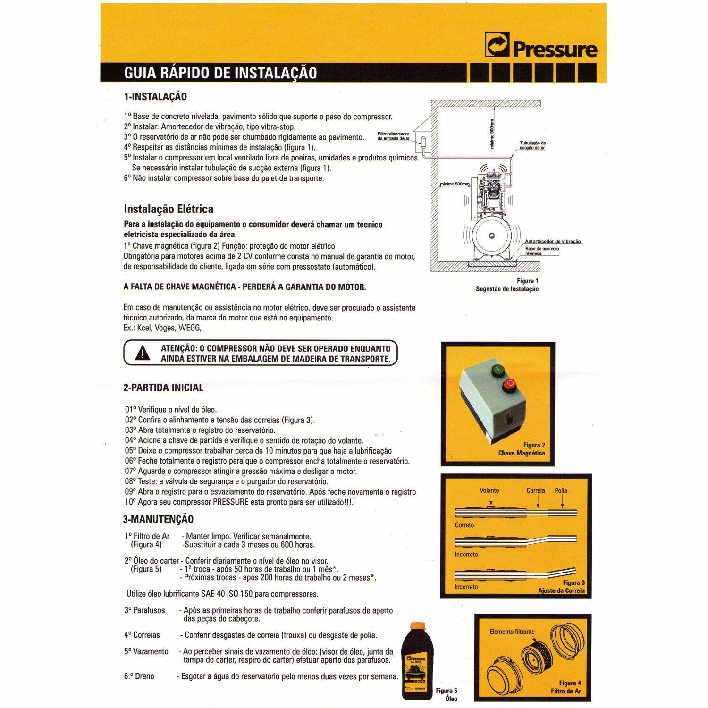 Compressor De Ar 15 Pés 200 Litros Pressure Ônix 15/200 V - 220/380V Trifásica