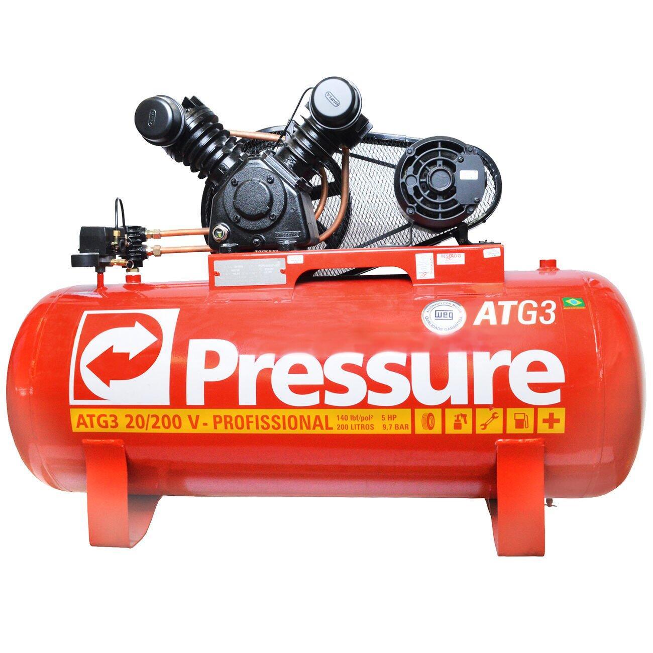 Compressor de Ar 200 Litros 20 Pés Pressure ATG3 20/200 V - 220/380V Trifásica