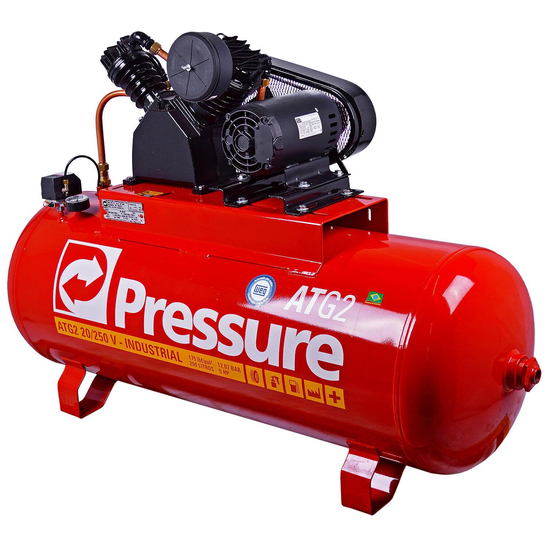 Compressor de Ar 250 L 20 Pcm Atg2 Pressure - Tri 220/380V