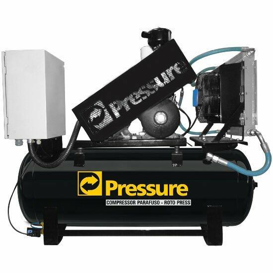 Compressor Parafuso 10HP 200 Litros Pressure Roto Press RP10/200 - 220V Trifásica