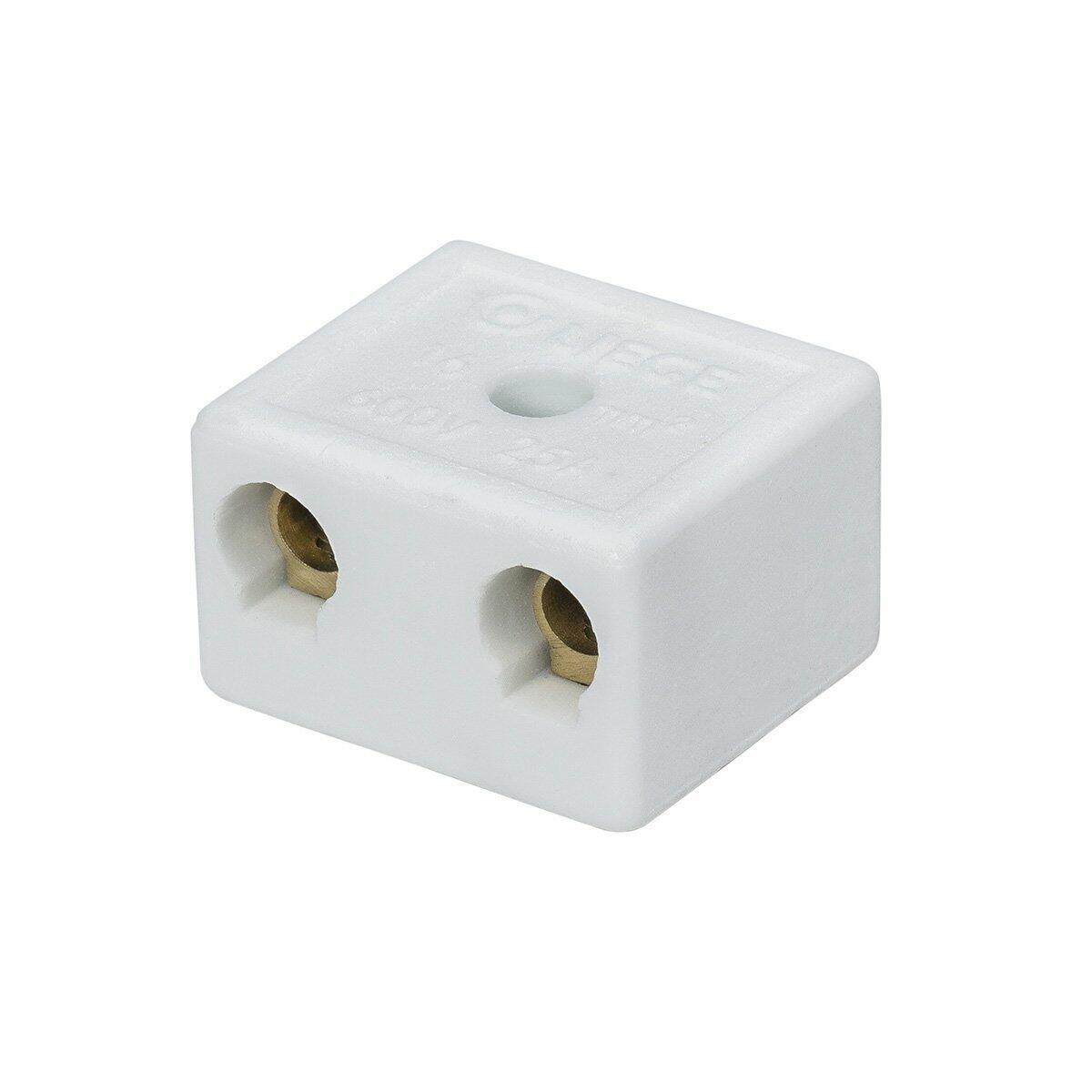Conector Porcelana Grande 2P 16Mm 2 Peças Liege