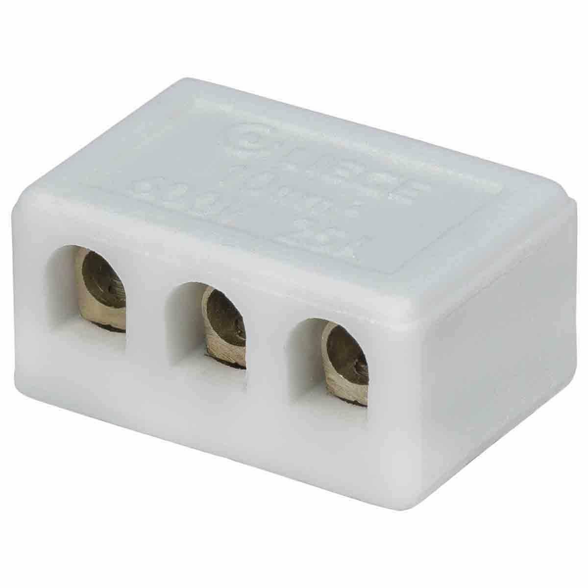 Conector Porcelana Médio 3P 10Mm Liege 2 Peças