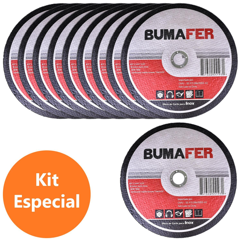 """Discos de Corte Inox com 10 Peças 9"""" × 1,9 mm Bumafer"""