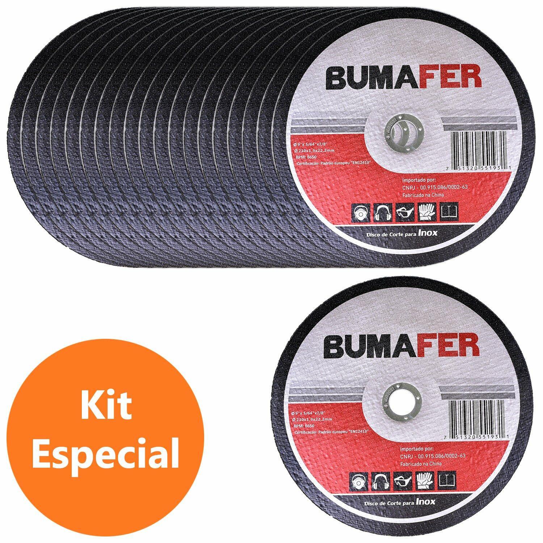 """Discos de Corte Inox com 20 Peças 9"""" × 1,9 mm Bumafer"""