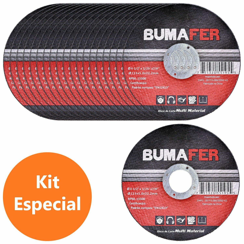 """Discos de Corte Multi Material com  20 Peças 4. 1/2"""" × 1 mm Bumafer"""